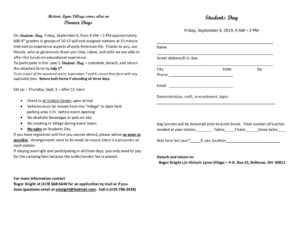 Pioneer Days 2019 registration form-Students Day